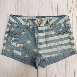 F21 Stars Stripes Flag Destroyed Cuff Jean Shorts